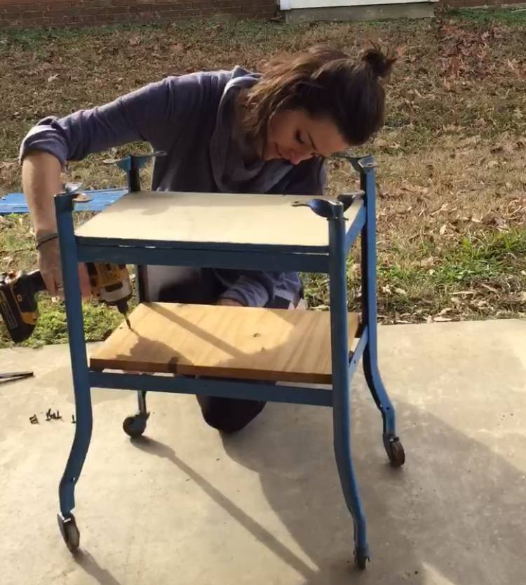 PictureStep by step tutorial on how to upcycle an old rolling cart and a cutting board.