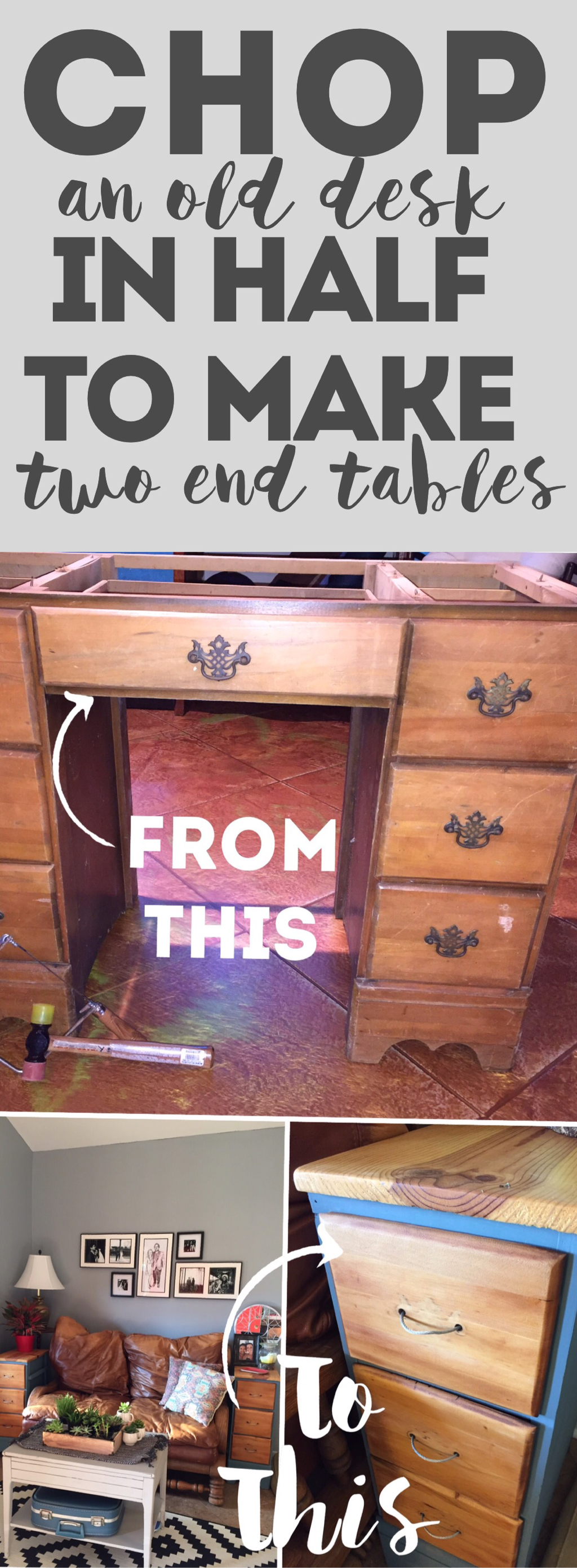 Step-by-step tutorial on how to cut up an old desk.